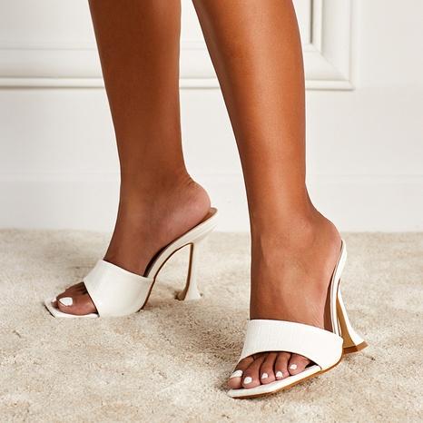 sandalias de tacón alto con estampado de serpiente y cabeza cuadrada NHEH314707's discount tags