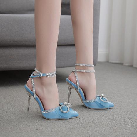 sandalias con tacón de cristal en punta y diamantes de imitación con lazo NHEH314710's discount tags