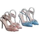 sandalias con tacn de cristal en punta y diamantes de imitacin con lazo NHEH314710