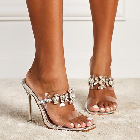 sandalias stiletto transparentes con pedrería NHEH314713's discount tags