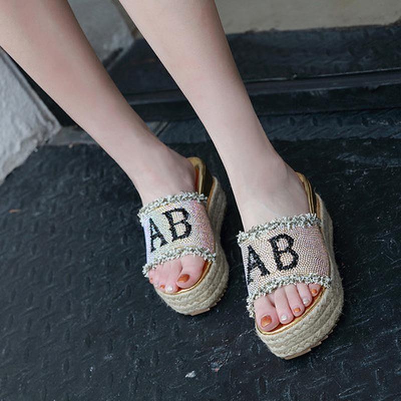 zapatos de moda con borlas de diamantes de imitacin con punta abierta y parte inferior gruesa de todo fsforo NHEH314716
