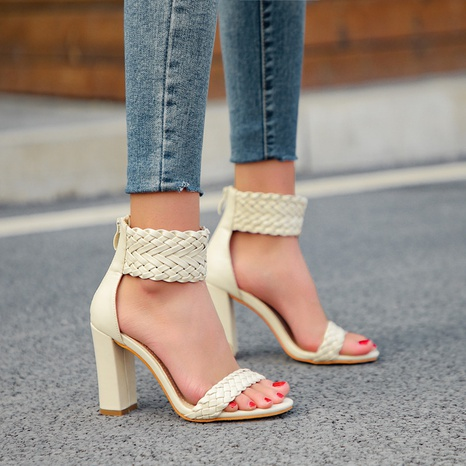 zapatos romanos de tacón alto con palabra tejida NHEH314745's discount tags