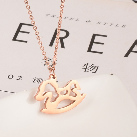 Korean simple zodiac horse necklace NHAB314896's discount tags