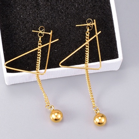simple triangle long earrings NHAB314904's discount tags