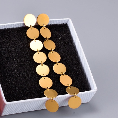 long golden brushed disc earrings NHAB314924's discount tags