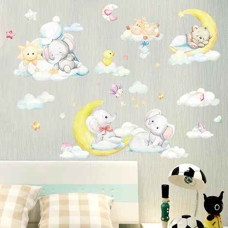 Cartoon moon baby elephant bear wall stickers NHAF314932's discount tags