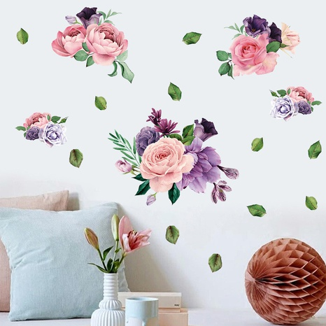 pink purple peony flower wall stickers NHAF314934's discount tags