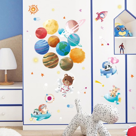 Cartoon Space Planet Bear Wall Sticker NHAF314945's discount tags