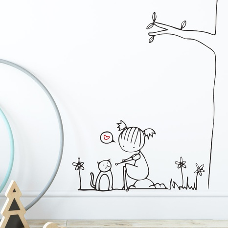 new simple tree little girl wall stickers NHAF314955's discount tags