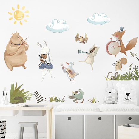 watercolor cartoon animal band player wall stickers NHAF314957's discount tags