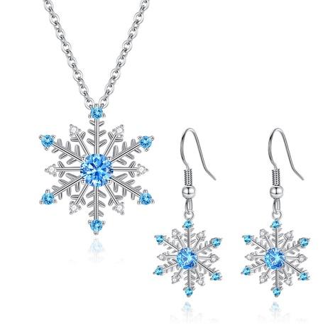 einfache Mode blau Zirkon Schneeflocke Ohrringe Halskette Set NHKN314978's discount tags
