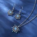 ensemble de collier de boucles d39oreilles flocon de neige zircon bleu NHKN314978