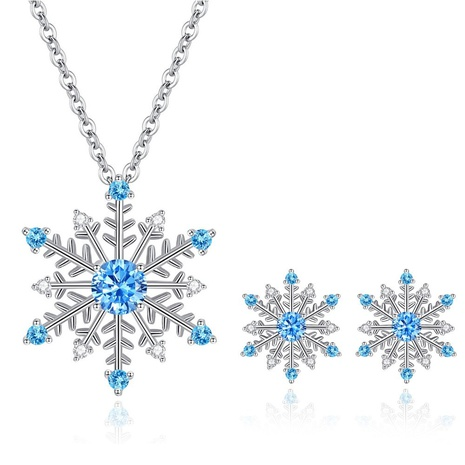 simple fashion blue zircon snowflake earrings necklace set NHKN314979's discount tags