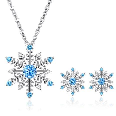 ensemble de collier de boucles d'oreilles flocon de neige zircon bleu NHKN314979's discount tags