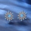 ensemble de collier de boucles d39oreilles flocon de neige zircon bleu NHKN314979