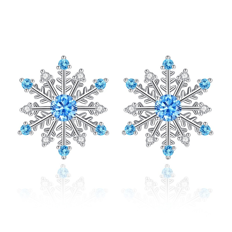simple fashion blue zircon snowflake earrings  NHKN314980