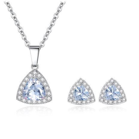 einfaches Zirkon Mikro-eingelegtes Dreieck Halskette Ohrringe Set NHKN314984's discount tags