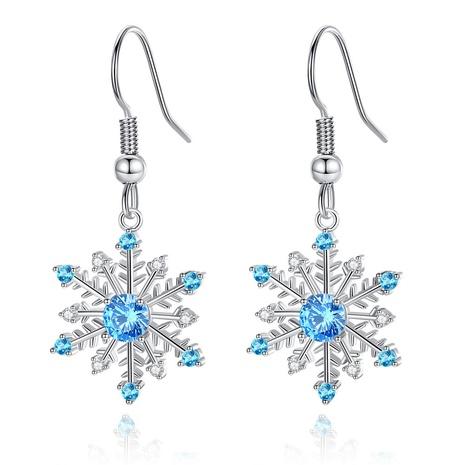 boucles d'oreilles en forme de flocon de neige zircon bleu simple NHKN314987's discount tags