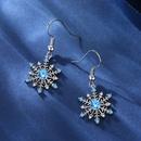 boucles d39oreilles en forme de flocon de neige zircon bleu simple NHKN314987
