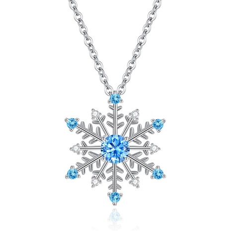 simple fashion blue zircon snowflake necklace NHKN314986's discount tags