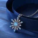 simple fashion blue zircon snowflake necklace NHKN314986