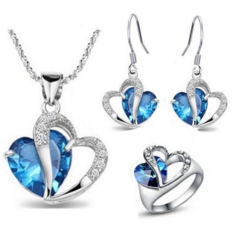 fashion new  Sea Heart Earrings Necklace Ring Set NHKN314989's discount tags