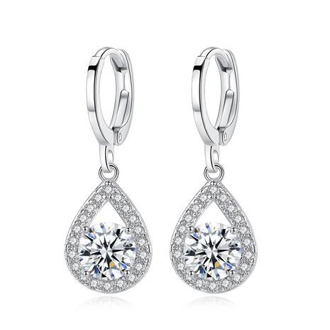simple micro-inlaid diamond drop earrings NHKN314993's discount tags