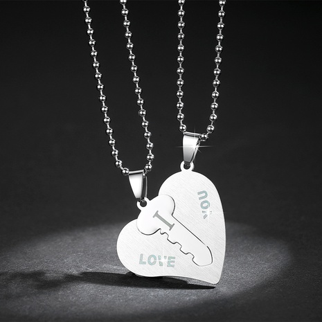 Nouveau collier de couple clé puzzle en forme de coeur en acier inoxydable NHKN314997's discount tags
