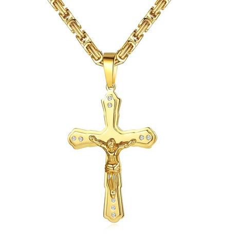 collar con colgante de cruz de Jesús simple NHKN315000's discount tags