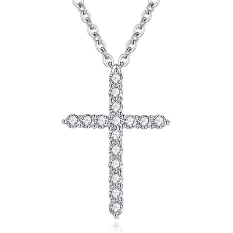 Collar con colgante de cruz de diamantes con baño de platino NHKN315001's discount tags