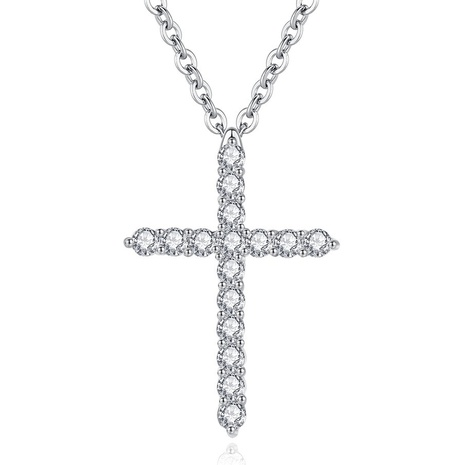 Platinum plated full diamond cross pendant necklace NHKN315001's discount tags