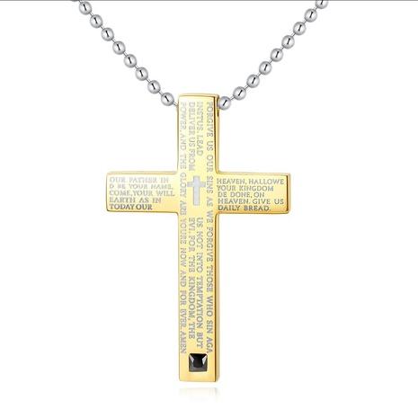 Nouveau collier classique en acier titane avec croix biblique classique NHKN315013's discount tags
