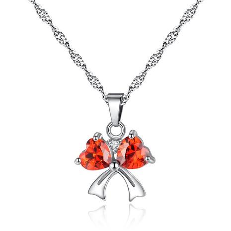 Nouveau collier micro-incrusté en forme de cœur avec nœud simple NHKN315024's discount tags