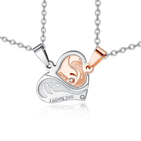 simple titanium steel heart-shaped puzzle couple necklace NHKN315025's discount tags