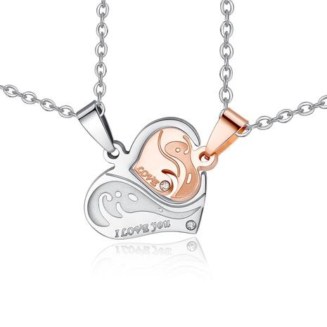 collier de couple puzzle simple en acier titane en forme de cœur NHKN315025's discount tags