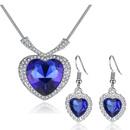 Fashion Ocean Heart Necklace Earring Set NHKN315032
