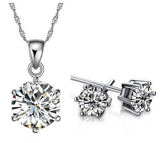 Ensemble de boucles d'oreilles avec collier diamant rond NHKN315039's discount tags