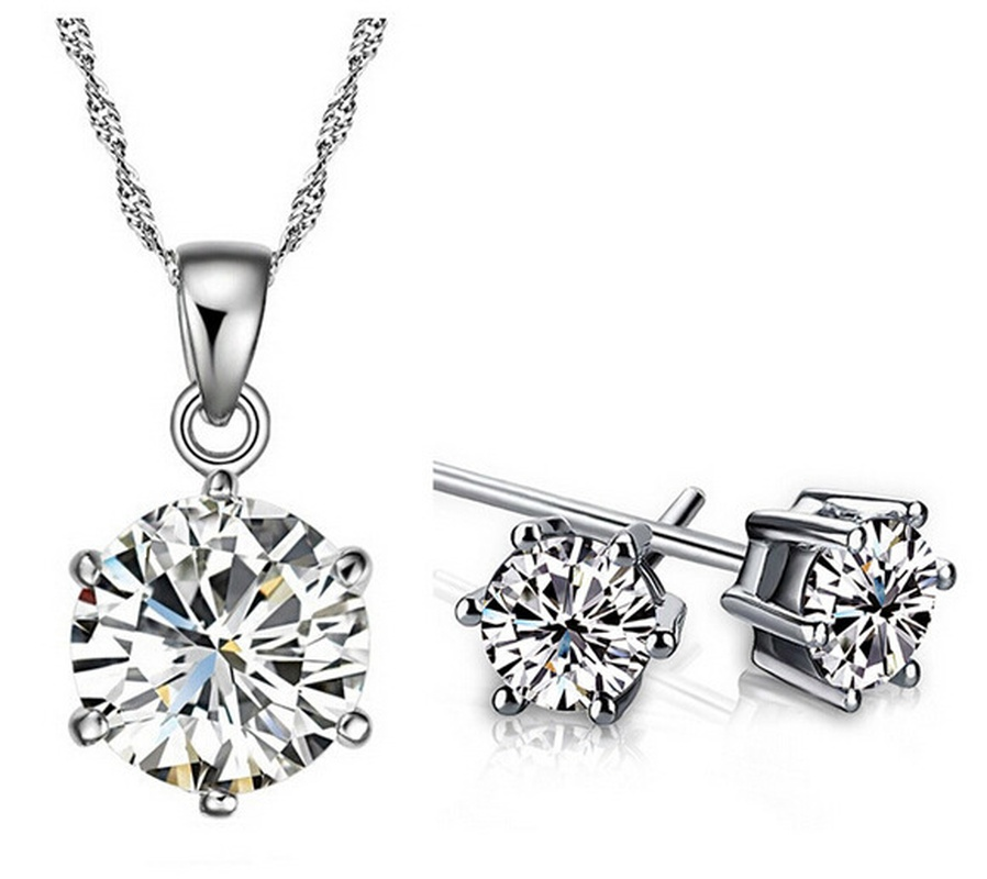 Ensemble de boucles d39oreilles avec collier diamant rond NHKN315039