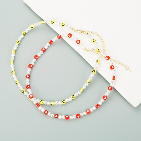 creative heart-shaped smiley face necklace NHLN315071's discount tags