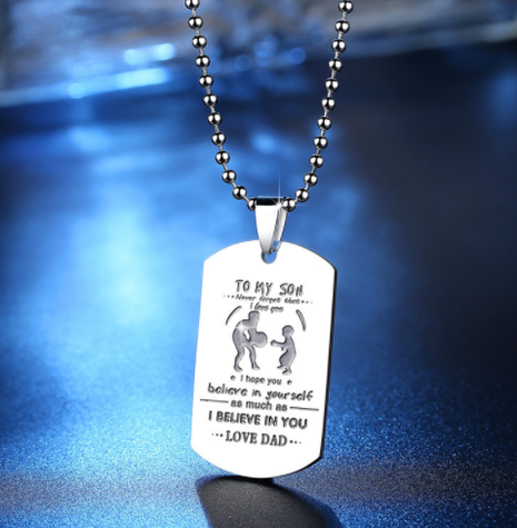 To my son Never Forget That I Love You Stainless Steel Necklace NHKN315016's discount tags