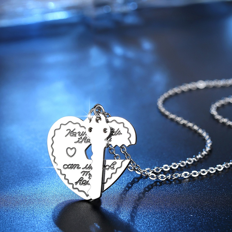 nouveau collier serrure coeur en acier inoxydable NHKN315015