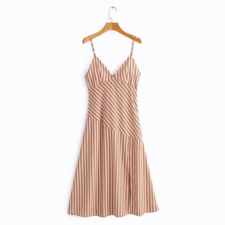 Falda de tirantes dividida con estampado de rayas irregulares de cintura alta delgada de moda NHAM315081's discount tags