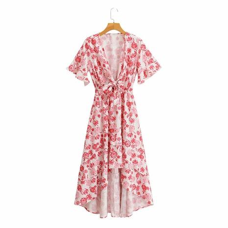 falda con estampado floral vestido con pajarita en V NHAM315083's discount tags