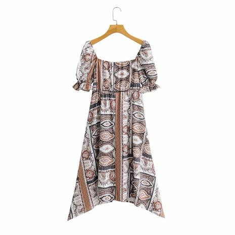 vestido irregular estampado con cuello cuadrado y manga abullonada NHAM315084's discount tags