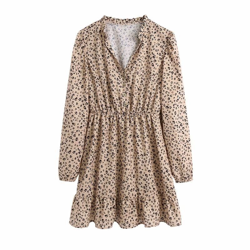 vestido con cuello alto y estampado animal NHAM315089