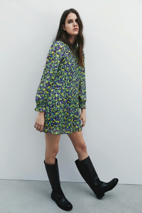 vestido corto de manga larga estampado NHAM315095's discount tags