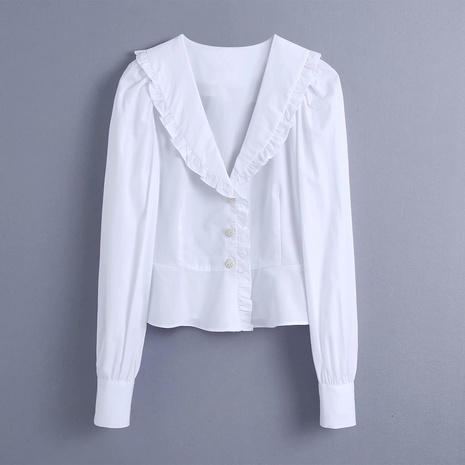 spring jewelry button blouse shirt   NHAM315097's discount tags
