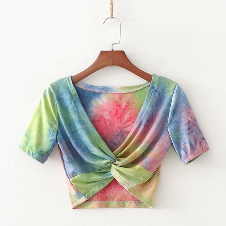 Tie-Dye Cross-Knotted Brustwickel-T-Shirt NHAM315098's discount tags