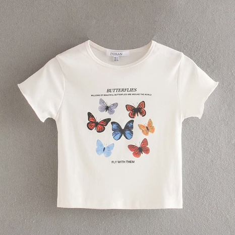 butterfly print round neck all-match slim short T-shirt   NHAM315104's discount tags