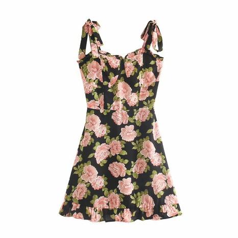 vestido retro con tirantes pequeños y cuello cuadrado NHAM315103's discount tags